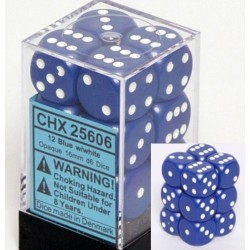 Brick Box of 12 Dices - D6 Spots - Chessex - Opaque - Blue/White