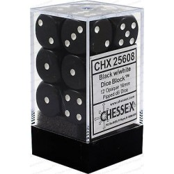 Brick Box of 12 Dices - D6 Spots - Chessex - Opaque - Black/White