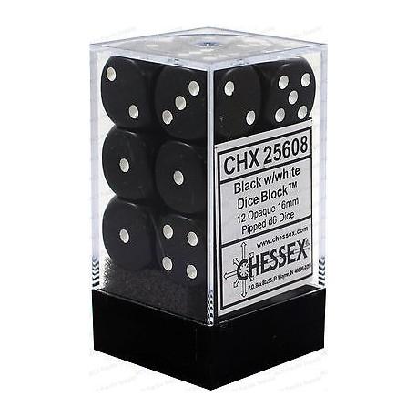 Set di 12 Dadi a D6 Facce - Chessex - Opaco - Nero/Bianco