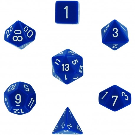 Brick Box of 7 Dices - D4 D6 D8 D10 D12 D20 Spots - Chessex - Opaque - Blue/White