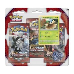 Blister da 3 Buste da 10 Carte - Sole & Luna - Invasione Cremisi - ENG - Pokemon - con Carta Promo Decidueye
