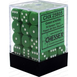 Brick Box of 36 Dices - D6 Spots - Chessex - Opaque - Green/White