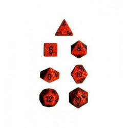 Brick Box of 7 Dices - D4 D6 D8 D10 D12 D20 Spots - Chessex - Speckled - Fire Camo