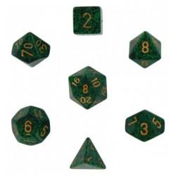 Brick Box of 7 Dices - D4 D6 D8 D10 D12 D20 Spots - Chessex - Speckled - Golden Recon Camo